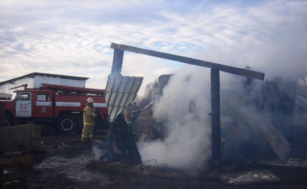 В Кимовском районе сгорел деревянный сарай
