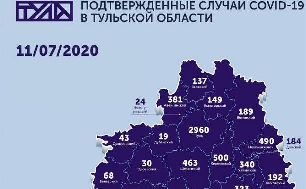 Карта коронавируса в Тульской области: данные на 11 июля