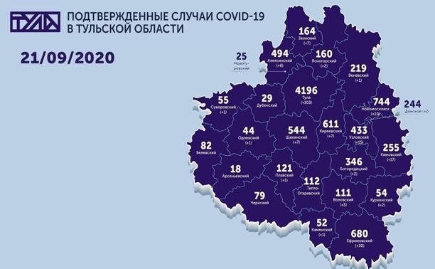 Самые зараженные коронавирусом города Тульской области: карта на 21 сентября