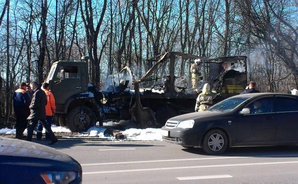 На трассе «Тула-Новомосковск» сгорел КамАЗ