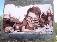 Ученье – свет.  Граффити на стене  школы №17, Тула, ул. Фрунзе, 18. Автор Антон Семёнов (Тула). , Фото: 8
