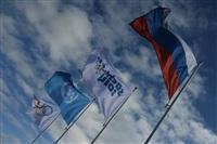 Флаги России, Организации объединенных наций, олимпийский флаг и флаг с символикой XXII Олимпийских игр в Олимпийской деревне в Сочи., Фото: 6