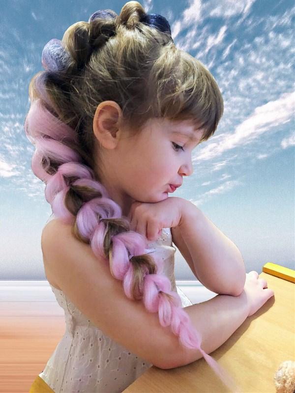 Крошка Лиза с любимой объемной косой + вплетение из искусственных волос