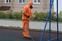 Сотрудники МЧС проводят дезинфекционные работы, Фото: 7