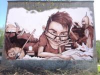 Ученье – свет. Граффити на стене школы №17, Тула, ул. Фрунзе, 18. Автор Антон Семёнов (Тула). , Фото: 6
