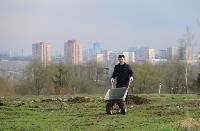 Надежда Школкина и Дмитрий Миляев высадили клены возле Ледового дворца, Фото: 1