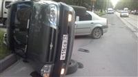 В Туле в результате аварии перевернулся автомобиль, Фото: 1