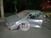 Крупное ДТП на ул. Металлургов в Туле: Nissan снес столб, пассажирку вышвырнуло из машины, Фото: 1