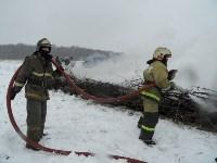 Тульские огнеборцы ликвидировали условное  возгорание в селе Прудное, Фото: 1