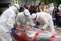 В Туле сотрудники МЧС эвакуировали госпитали госпиталь для больных коронавирусом, Фото: 38