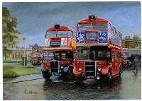 Red Route Two Два красных AEC Routemaster на лондонском хайвее Red Route II. Слева — серийный AEC Routemaster RT2, справа — модифицированный Cravens RT в экпериментальной «ливрее», разработанной специально для работы на Red Route II., Фото: 5