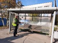 В Туле продезинфицировали автобусы, остановки, подъезды и детские площадки, Фото: 5