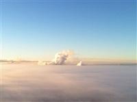 Необычные клубы дыма над заводом. Косая Гора, 21 января 2014, Фото: 2