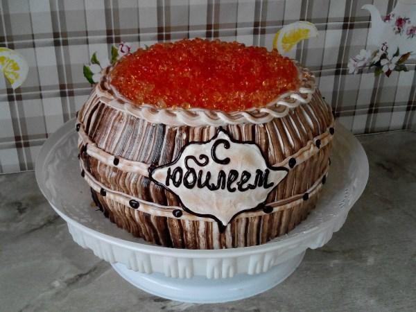 """Торт """"Бочонок с икрой"""""""