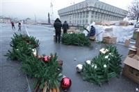Установка новогодней елки на площади Ленина, Фото: 5