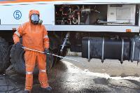 25 пожарных расчетов ежедневно дезинфицируют тульский транспорт и остановки , Фото: 11