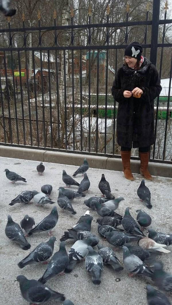 Когда выпал первый снег в январе, и ты идёшь кормить утей, а наглые голуби всё отнимают)))