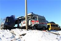 """На трассе М2 автомобиль """"скорой"""" столкнулся с автовозом., Фото: 4"""