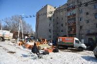 У дома, поврежденного взрывом в Ясногорске, демонтировали опасный угол стены, Фото: 23