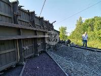 В Тульской области грузовой поезд сошел с рельсов, Фото: 16