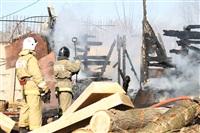 Пожар в цехе производства гробов на Веневском шоссе в Туле, Фото: 7