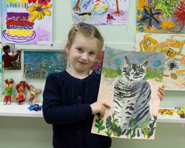 Маша, 6 лет. Портрет нашего котика.