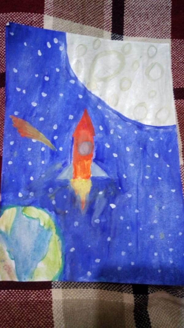 Летим к Луне.Безруков Дима,8 лет.