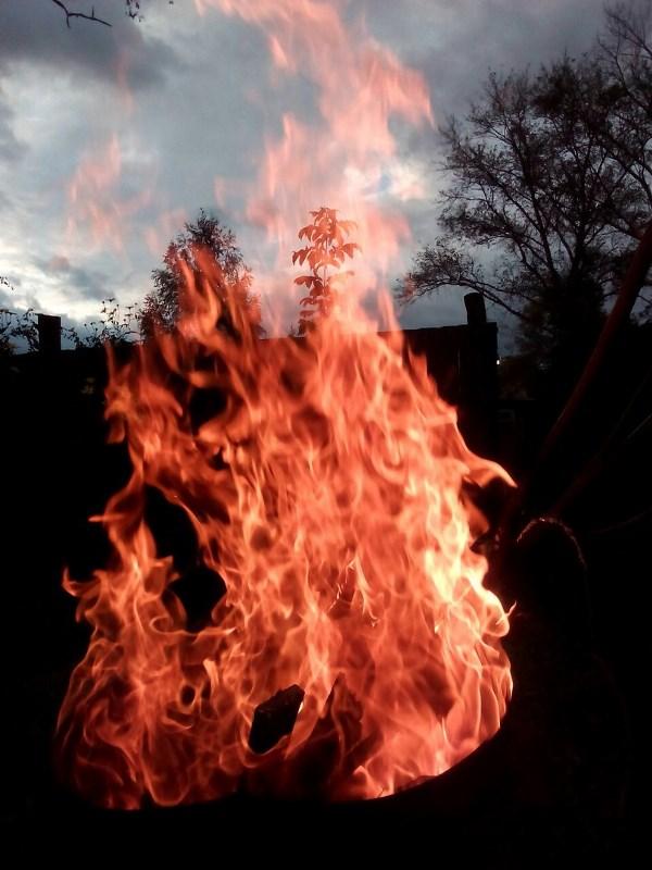 Просто сжигал мусор в бочке и решил сфотографировать