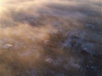 Необычные клубы дыма над заводом. Косая Гора, 21 января 2014, Фото: 1