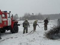 Тульские огнеборцы ликвидировали условное  возгорание в селе Прудное, Фото: 7