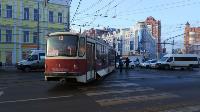 На улице Советской в Туле трамвай сошел с рельсов, Фото: 3