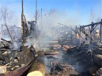 Пожар в цехе производства гробов на Веневском шоссе в Туле, Фото: 13