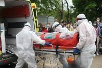 В Туле сотрудники МЧС эвакуировали госпитали госпиталь для больных коронавирусом, Фото: 41