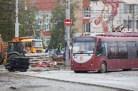 На ул. Советской в Туле убрали дорожные ограждения с трамвайных путей, Фото: 13