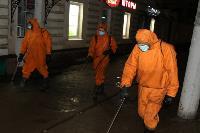 25 пожарных расчетов ежедневно дезинфицируют тульский транспорт и остановки , Фото: 1