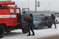 В лобовом ДТП на Восточном обводе ранены два человека , Фото: 11