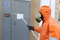 Сотрудники МЧС проводят дезинфекционные работы, Фото: 12