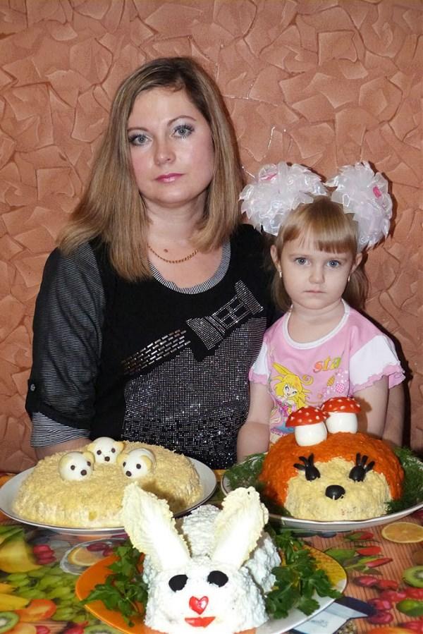 Три салата для детского праздника.