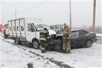 В лобовом ДТП на Восточном обводе ранены два человека , Фото: 1