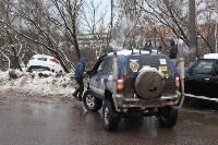В Туле опрокинувшийся в кювет BMW вытаскивали три джипа, Фото: 30