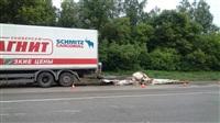 На Новомосковском шоссе у фуры развалился прицеп. 28.05.2014, Фото: 2