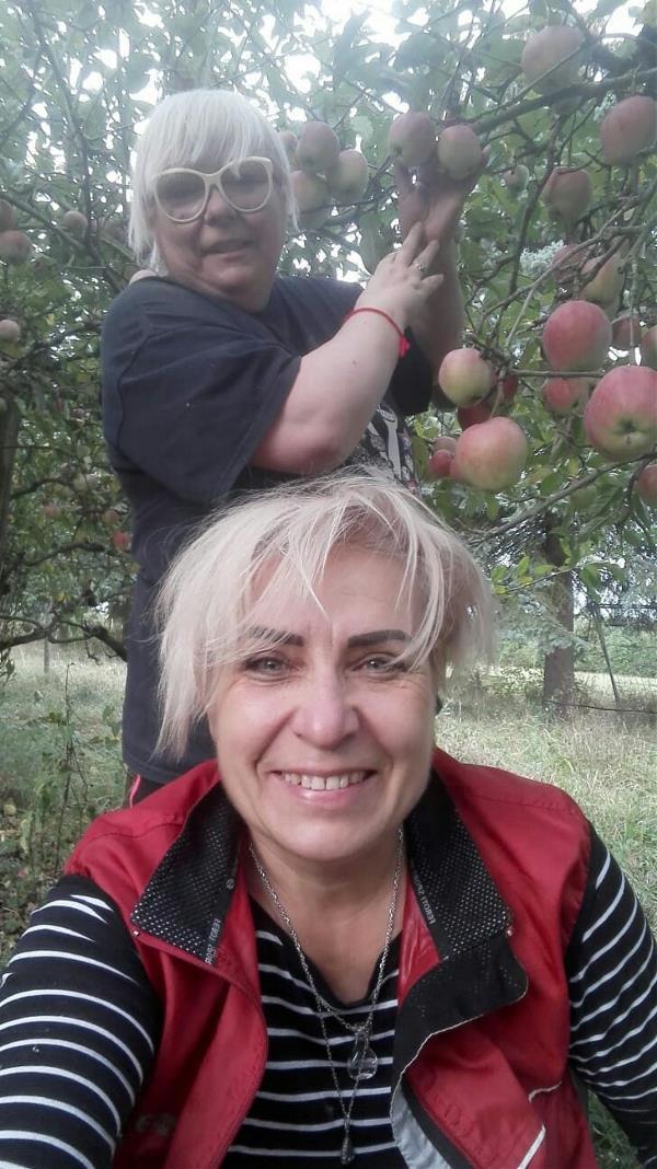 Я (на втором плане) и сестра Женька (Ewgenia Albrecht) собираем яблоки в её саду. 2018 год, г. Remagen (Германия).