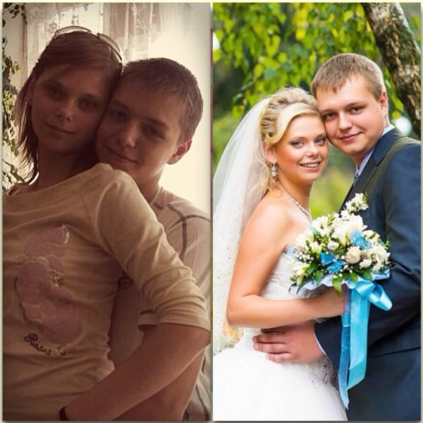 Ольга и Артур Фото слева 2005 год, справа - 2013 год. 14 сентября 2014 г. у нас будет первая годовщина свадьбы и 9 лет отношений! Вместе со школы)) Любите, цените и уважайте друг друга!