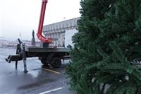 Установка новогодней елки на площади Ленина, Фото: 2