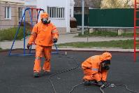 Сотрудники МЧС проводят дезинфекционные работы, Фото: 4