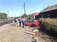 В Узловском районе поезд протаранил легковушку, Фото: 1