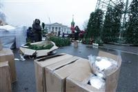 Установка новогодней елки на площади Ленина, Фото: 7